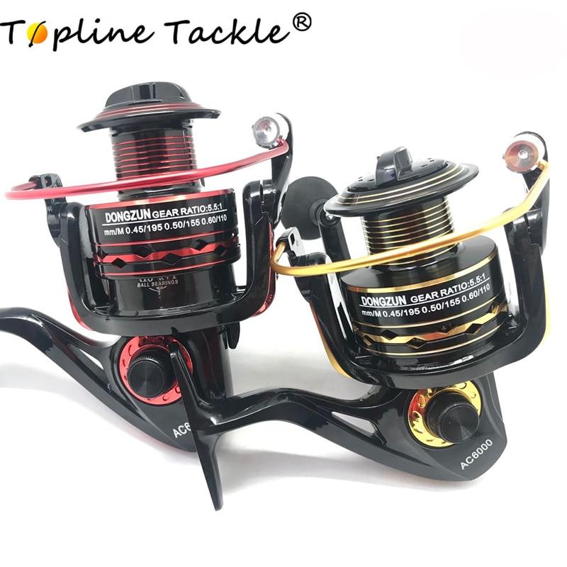 Topline Tackle Metal Spool Spinning Fishing Reel Superior Wheel For Freshwater Saltwater Fishing 1000 6000 Series 5.5:1 Wheel