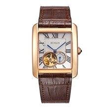 BINLUN Men's Rectangle Gold Sliver Automatic Dress Watches Black Brown Calfskin Straps Tourbillon