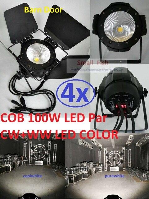 4xLot 2016 100W Led COB Par Light Fresnel Studio Light PAR64 Full Color High Power Stage Washer Surface Light with Barn Door