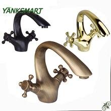 YANKSMART античный латунный& ORB& Золотой полированный Torneira Banheiro кран для раковины ванной комнаты смеситель для раковины кран для ванной комнаты