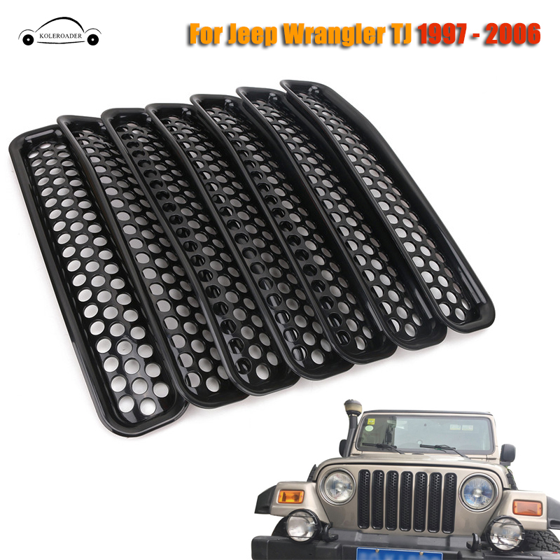 KOLEROADER 7PCS Front Grille Mesh Cover Sticker For Jeep Wrangler TJ 1997-2006 Car Exterior Decoration ABS Insert Trim / silver front mesh grilles trim grill cover insert shell honeycomb fit for jeep patriot 11 2015