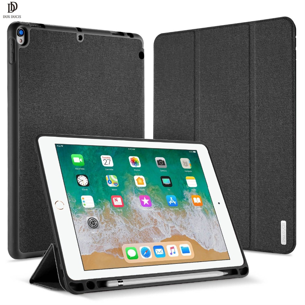 DUX DUCIS PU Leather Case for iPad Pro 10.5 Magnet Stand Smart Cover for ipad Pro 10.5 inch 2017 With Pencil Holder New Funda for ipad pro 12 9 2017 2015 smart tablet case cover high quality genuine leather pu folding stand case card slots pencil holder