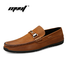 Купить с кэшбэком Natural Leather Casual Shoes For Men Fashion Slip-On Loafers Moccasins Slip Business Men Shoes Formal Driving Shoes Dropshipping
