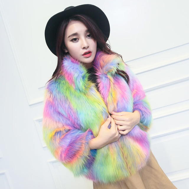 Womens Faux Fur Rainbow Colors Prom Hooded Jackets Peacoats Thick Parka Coats Outwear Luxury Christmas 2Styles New 2017