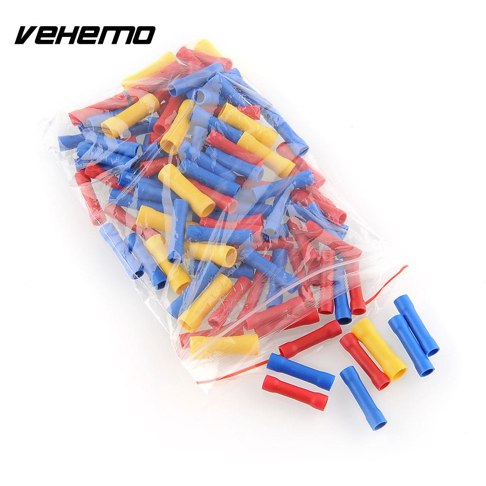 100X Assorted Insulated Wire Butt Connector Electrical Crimp Terminals Useful