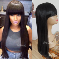 Long black synthetic lace wig with bangs no lace glueless synthetic lace front wig for black women no lace straight hair wigs