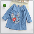 2017 Girls Bunny Denim Dress Cute Embroidered Cartoon Fashion Party Dresses