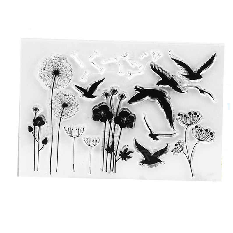 Dandelion Bird Clear stamp vintage travel Transparentstamps flowerCraft Stamps seal for DIY Scrapbooking decoration Card  tools