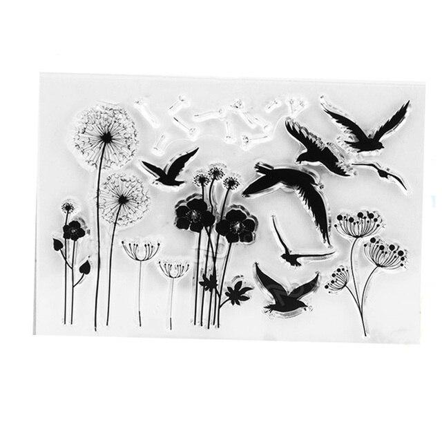 Paardebloem Vogel Clear stempel vintage reizen Transparentstamps flowerCraft Postzegels seal voor DIY Scrapbooking decoratie Kaart gereedschappen