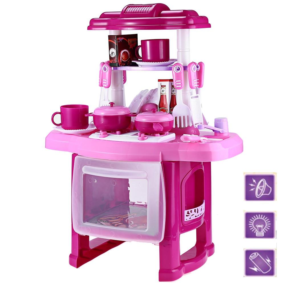 los nios juegan el juguete de la muchacha beb de la msica del juguete grande de cocina de cocina simulacin pretent play medi