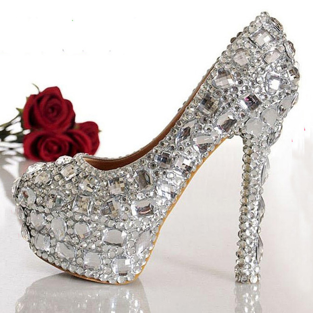 Beautiful silver small crystals mix with big diamonds Bridal Shoes ...