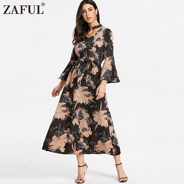 1035e06827e1 ZAFUL Floral Print Chiffon Long Dress Women 2018 Maxi Dresses Sexy Choker  Neck Layered Flare Beach