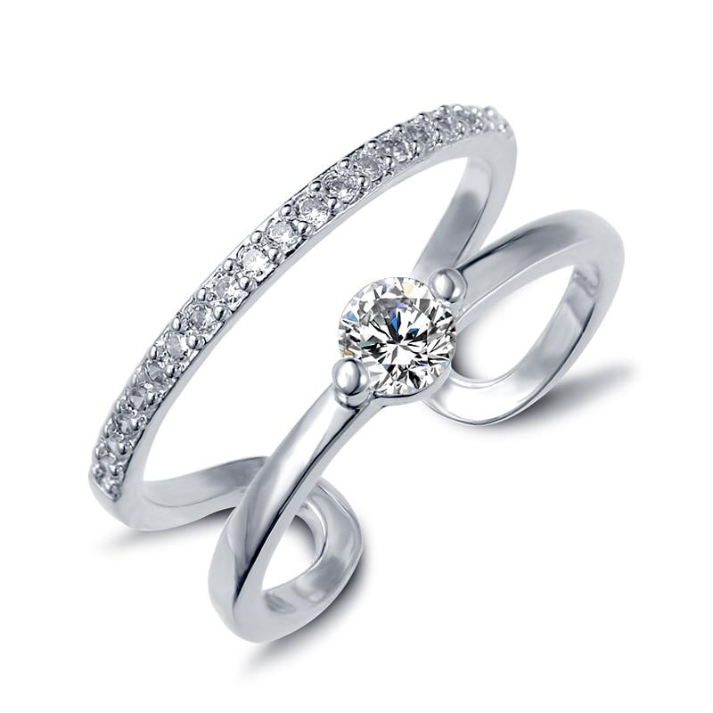 17KM Fashion Brand Designer White Gold Color Double Zircon Crystal