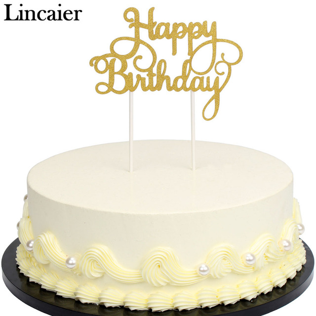 Lincaier Gold Silver Glitter Paper Happy Birthday Cake Toppers