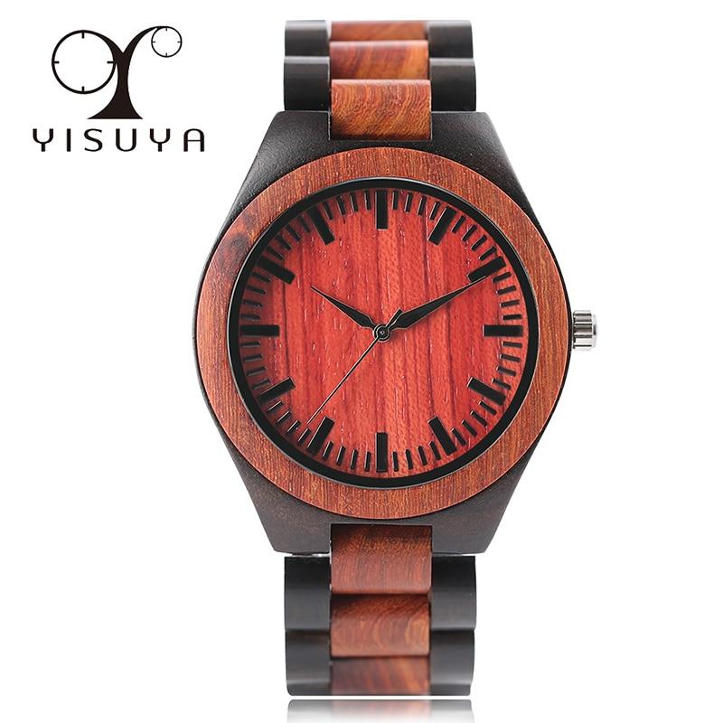 YISUYA Fashion Full Wood Watch Men Quartz Wristwatch Wooden Bracelet Creative Christmas Gift