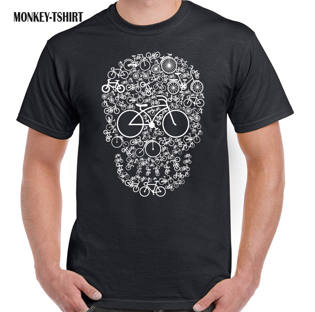 Bicycle Skull Mens Funny T-Shirt Cyclist Circle MTB Racer Biker tshirt ...