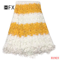 HFX African Lace Yellow/White Mix Color Nigeria Wedding Embroidered Cord Lace High Quality Guipure Lace Fabric for Women X1923