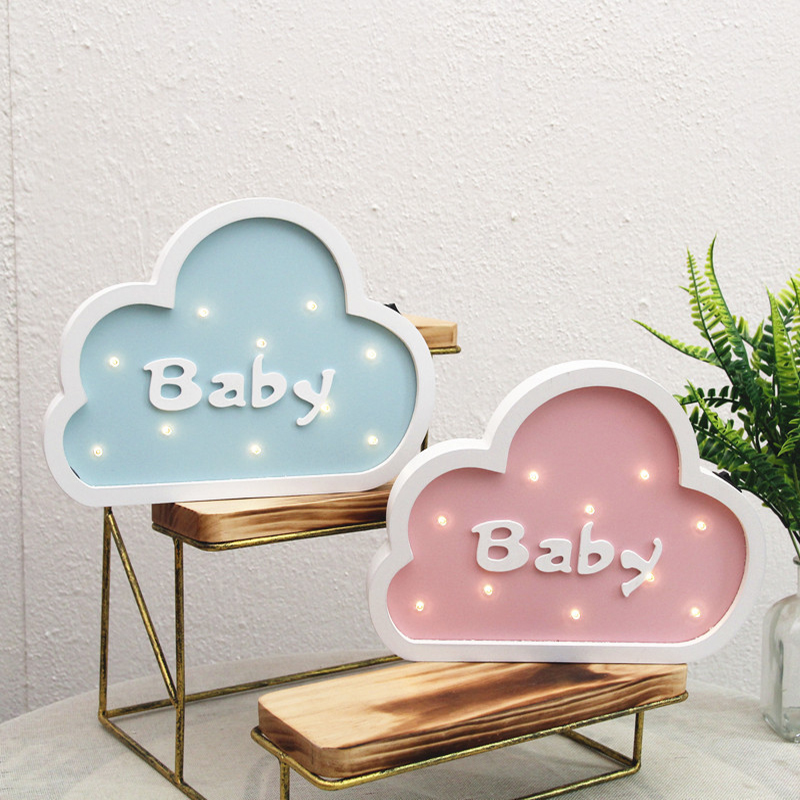 Jiaderui Baby Cloud Wooden Led Night Light for Kids Children Gifts Table Bedside Lamp Bedroom Living Room Indoor Decoration Lamp jiaderui ballon led night lamp wooden table light for kids gift bedside bedroom living room indoor lighting home decoration