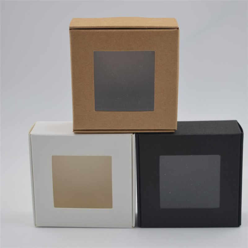 10pcs Natural Kraft Box,square black Kraft Paper Packing Box,white small soap Box with clear pvc window,brown jewelry gift box
