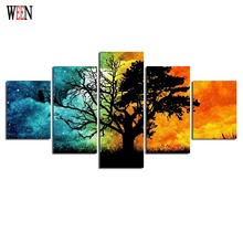 Abstract Tree Canvas Art With Framed Directly Handed 5 Piece Wall Pictures For Living Room HD Print Large Cuadros Decoracion
