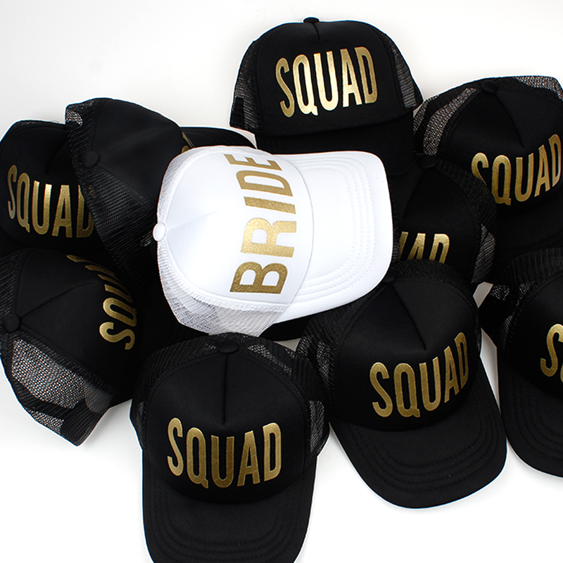 BRIDE SQUAD Gold Print Mesh Women Wedding Baseball Cap Party Hat Brand Bachelor Club Team Snapback Caps Summer Beach Casquette ming dynasty emperor s hat imitate earthed emperor wanli gold mesh hat groom wedding hair tiaras for men 3 colors
