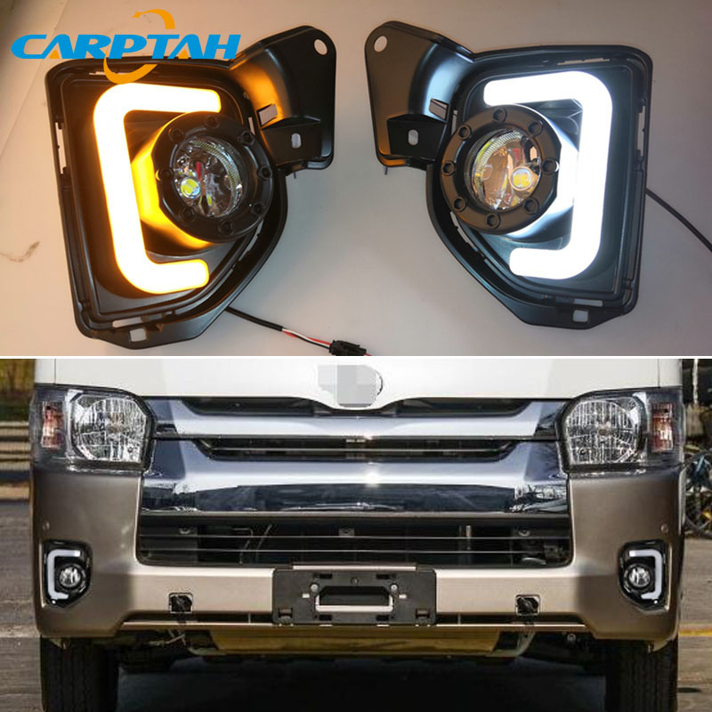 LED Daytime Running Light For Toyota Hiace 2014 2018 Waterproof 12V Yellow Turn Signal Indicator Light Bumper Lamp LED DRL