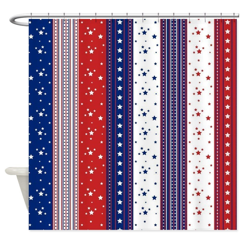 Patriotic Strs & Stripes Abstract A Decorative Fabric Shower Curtain ...