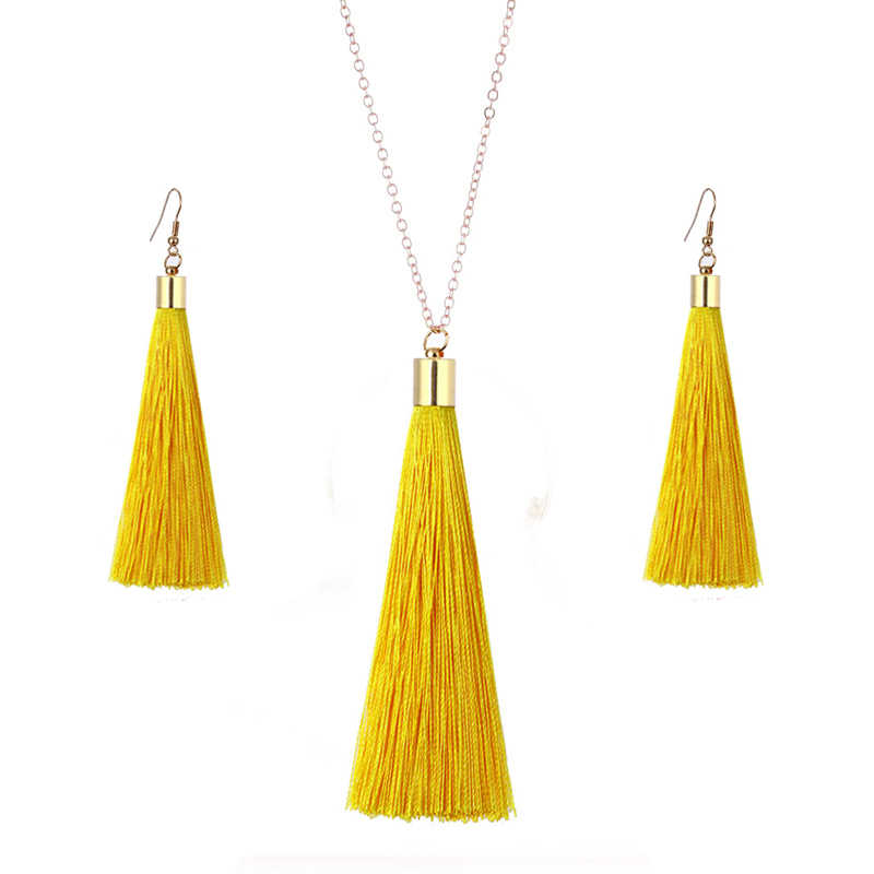 European Exaggerated Jewelry Set Ethnic Boho Long Tassel Drop Earrings Necklace Women Fashion Punk Fringed Pendant Chain Collar