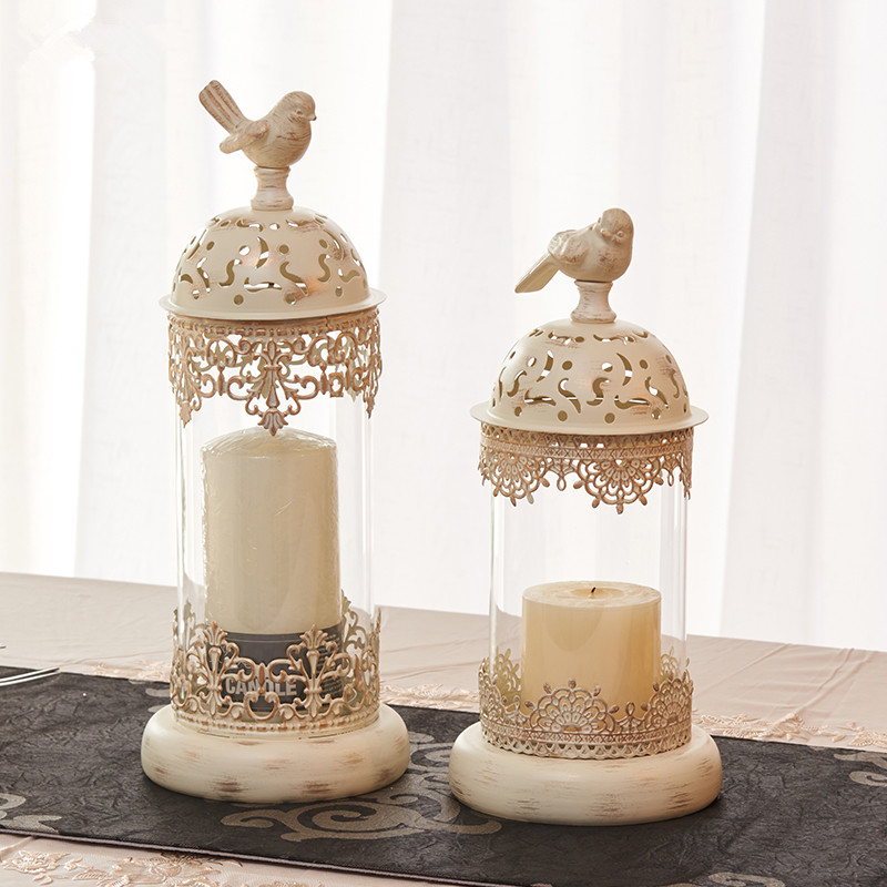 BirdCage Iron Candlestick Holder Glass <font><b>Candle</b></font> Stand Lantern Europe Moroccan Hollow <font><b>Candle</b></font> Stick Stand Home Wedding Decor Gifts