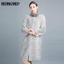 HDHOHP 2017 New Women Natural Mink fur Coats Kintted Mink Coats Warm Long Fashion Fur Parkas Genuine Mink Fur Jackets Female