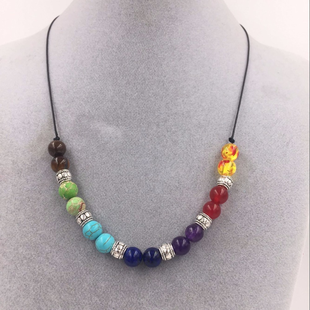DIEZI Yoga Jewelry 7 Chakra Healing Point Jewelry Pendant For Necklace Reiki Beads Men Women Jewelry 2018 New With Chain