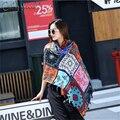 Pañuelos para Las Mujeres de Invierno 2016 de Estilo Étnico Clásico Plaid Diseño Anacardo Flor Bufanda Caliente Poncho Borlas Del Mantón Del Abrigo Feminino
