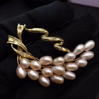 Pearl Brooches Fine Jewelry Pure 18 K Yellow Gold 100% Natural Akoya Pearls Brooch Japan Origin For Women Fine Brooches