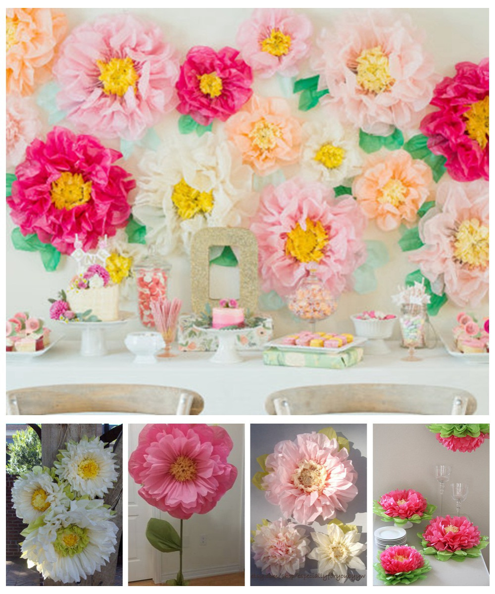 2 In 1 Giant 1pc 1435cm Chrysanth Flowers Tissue Pom Poms Paper
