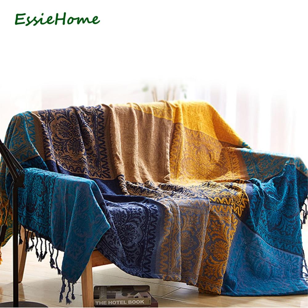 ESSIE HOME Sofa Blanket Chenille Blue Bright Yellow Bohemia Blanket For Sofa Living Room Bedroom Rug