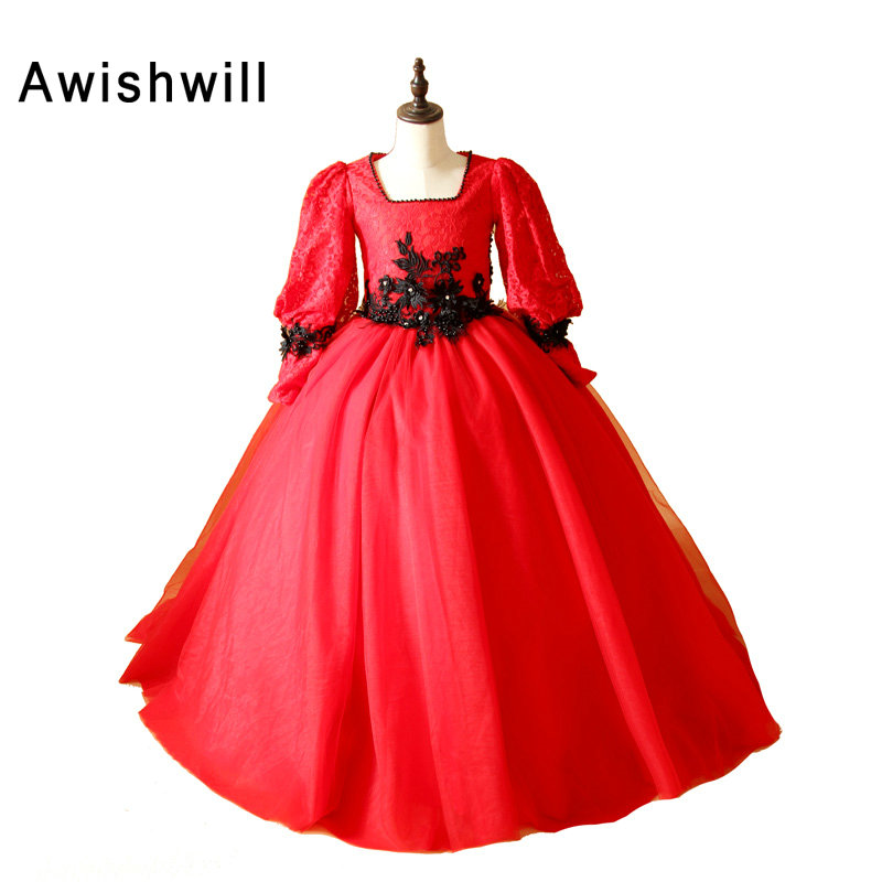High Quality Red   Flower     Girl     Dress   Puffy Long Sleeve First Communion   Dresses   For   Girl   Tulle Lace Toddler Pageant for Birthday