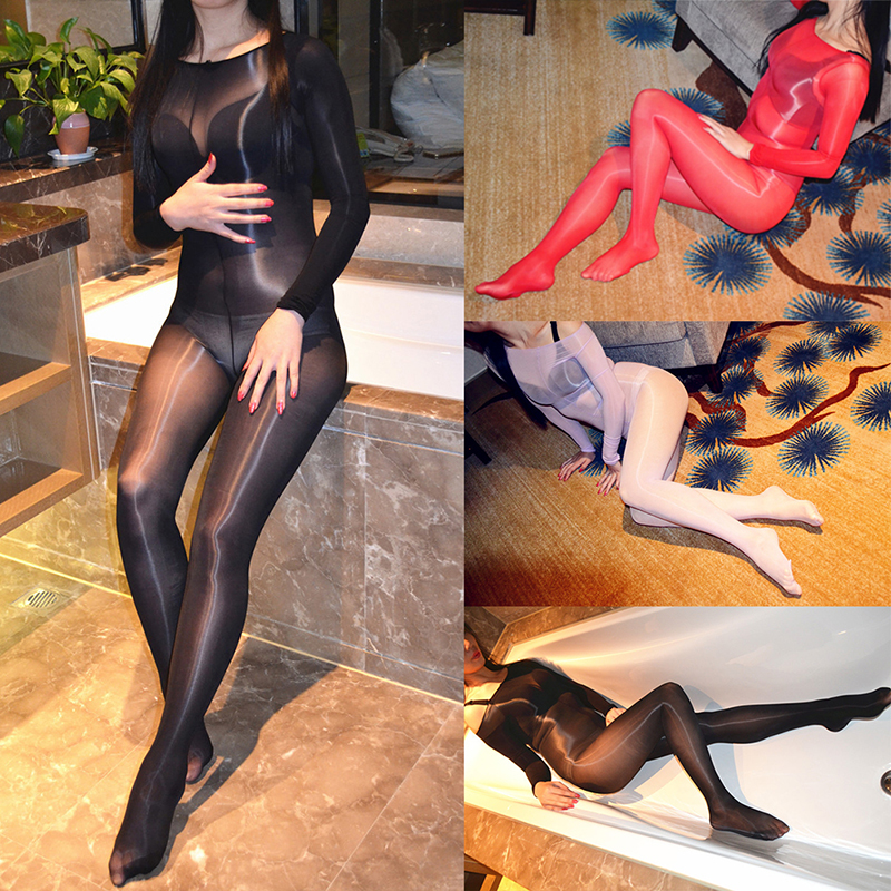 Sexy Slash Neck Shiny Glossy Oil Stocking Bodysuit Dance Thigh Highs Tights One Line Shaping Pantyhose Shining Shaping Bodyhose