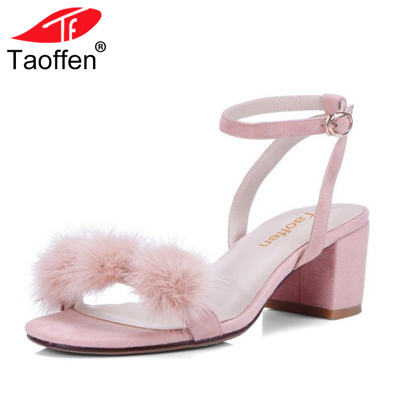 TAOFFEN Geniune Leather Women High Heels Sandals Ankle Strap Round Toe Thick Heel Summer Shoes Women Party Footwear Size 33-40 kemekiss size 31 45 women sweet high heel shoes women ruffle ankle strap thick heels pumps party daily work shoes women footwear