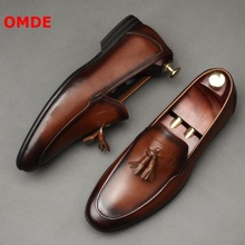 OMDE Italy Style Tassel Loafers Genuine Leather Slip On Mens Shoes Fashion Business Casual Shoes Handmade Men's Wedding Shoes northmarch spring autumn new mens business dress shoes fashion slip on tassel leather wedding shoes men handmade work shoes