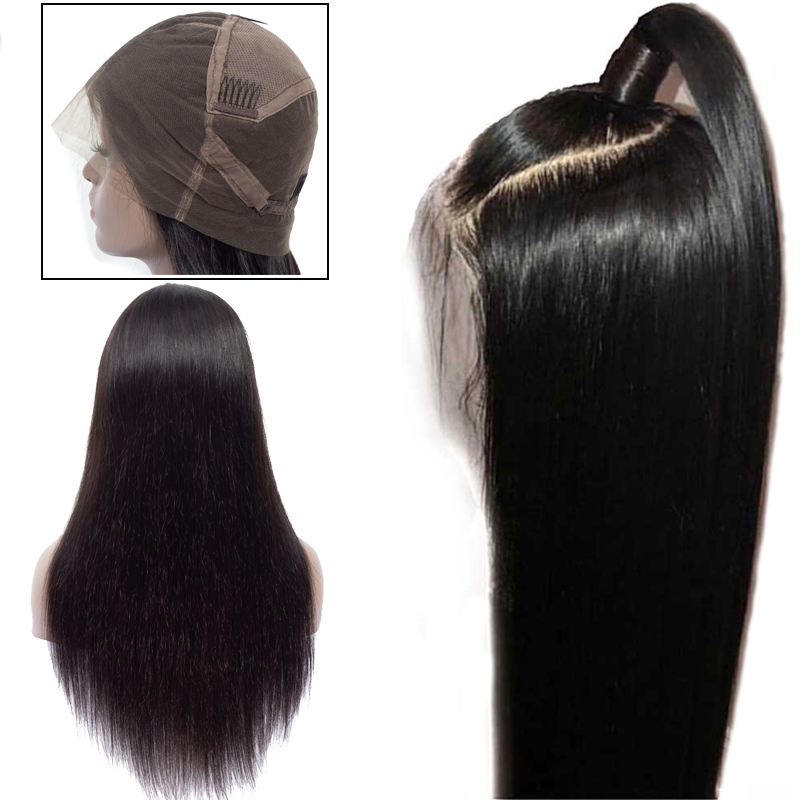 Brazilian Full Lace Frontal Human Hair Wigs For Women Remy Hair Straight Wig With Baby Hair Natural Hairline Full End