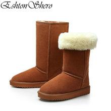 EshtonShero Shoes Women's Mid Calf Boots Black Genuine Leather+Plush Low Heel Winter Keep Warm Ladies Snow Boots Size 34-40 universe mid calf winter boots women shoes with warm short plush lining genuine leather med heel boots g382