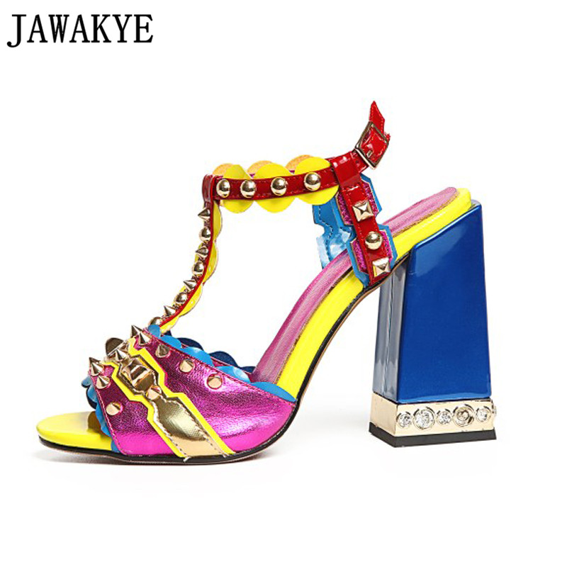 Sheep skin Spiked Rivets pearled High Heels Sandalias 2018 Summer Shoes  Woman Gladiator Design Sandals Pumps 6daa7dd19ab7
