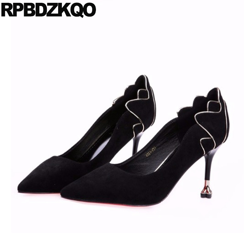 Bureau Pointu 34 Formelle Mince Dames Femmes Mode Chaussures Pompes Sexy Européenne Noir Travail Élégant Taille De Classique Daim 4 R8Fpqw5
