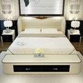 Conjuntos de muebles de dormitorio de lujo reina tamaño cama de matrimonio con cama de cuero moderno combinación cola stool envío sin colchón