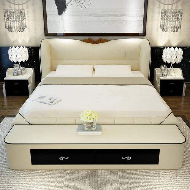 mobilier de chambre fixe moderne en cuir lit queen size de stockage cadre avec tabouret deux - Lit Queen Size