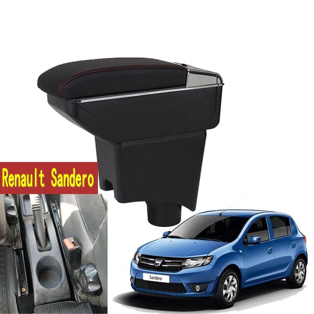 Pour Renault Sandero boîte Accoudoir central Magasin contenu Sandero accoudoir boîte avec porte-gobelet cendrier avec interface USB