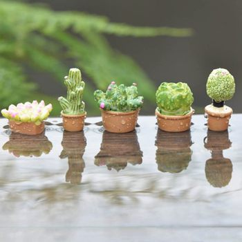 5Pcs Mini Artificial Fleshy Cactus Plant Real Touch Palm Bonsai Landscape Decorative Flower Talbe Decoration Resin Miniature 1