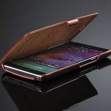 Примечание Для Samsung Galaxy Note 4 Дело Ретро Роскошный Фиксированной тип Кожа Флип Ультра тонкий Стиль Крышка Защищает Случаи черный N9100