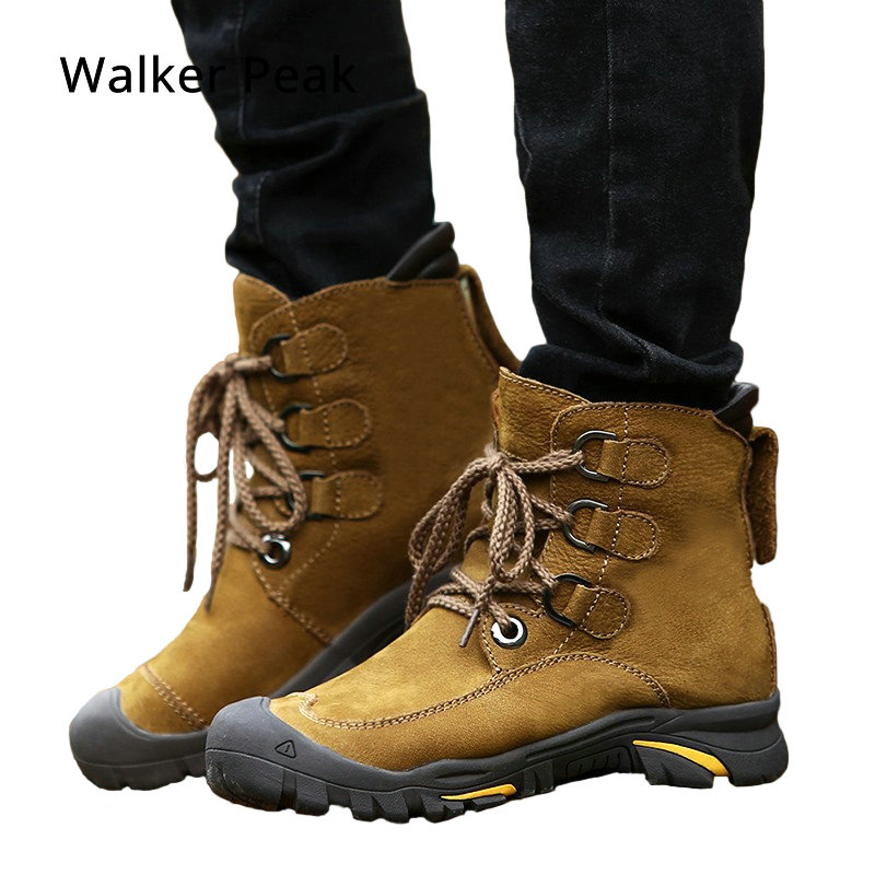 Зимние ботильоны Для мужчин s Зимние сапоги из натуральной кожи большой размер 38-49 уличные теплые зимние ботинки для Для мужчин анти-холодны...