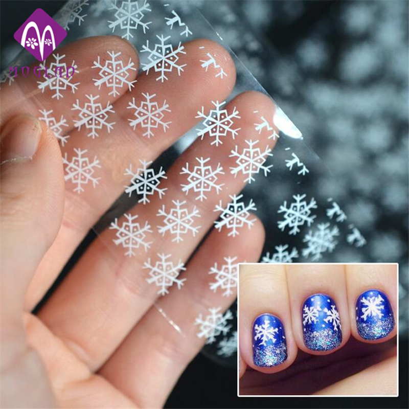 1pcs New Design White Snowflake Nail Art Transfer Foils Paper Nail Tips Sticker Decoration Craft one bottle cute white little snowflake pattern nail sticker